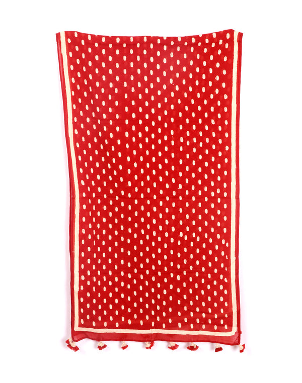 Red Mini Polka Cotton Voile Block Printed Stole