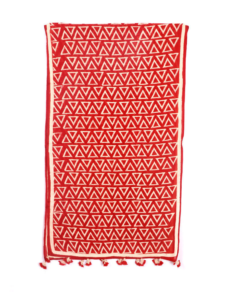 Red Triangle Cotton Voile Block Printed Stole