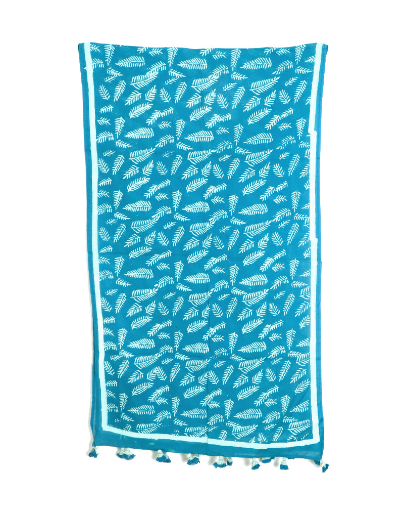Blue Long Leaf Cotton Voile Block Printed Stole