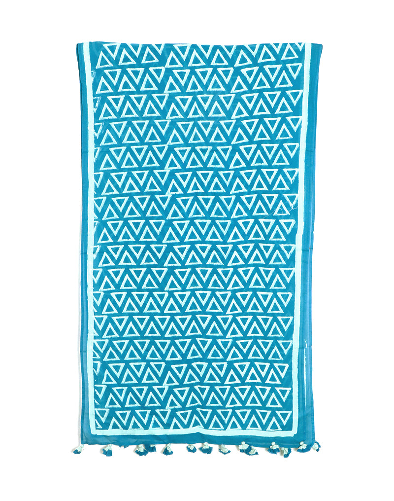 Blue Triangle Cotton Voile Block Printed Stole