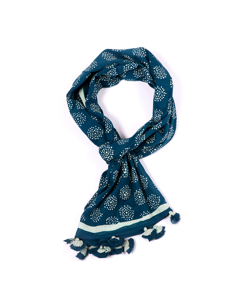 Dark Blue Crackle Cotton Voile Block Printed Stole