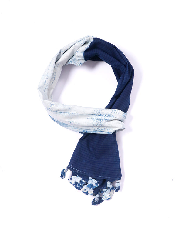 Half Patch Indigo Cotton Voile Block Printed Stole