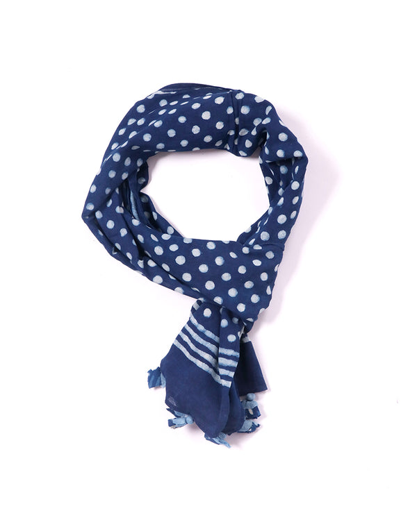 Mini Polka Indigo Cotton Voile Block Printed Stole