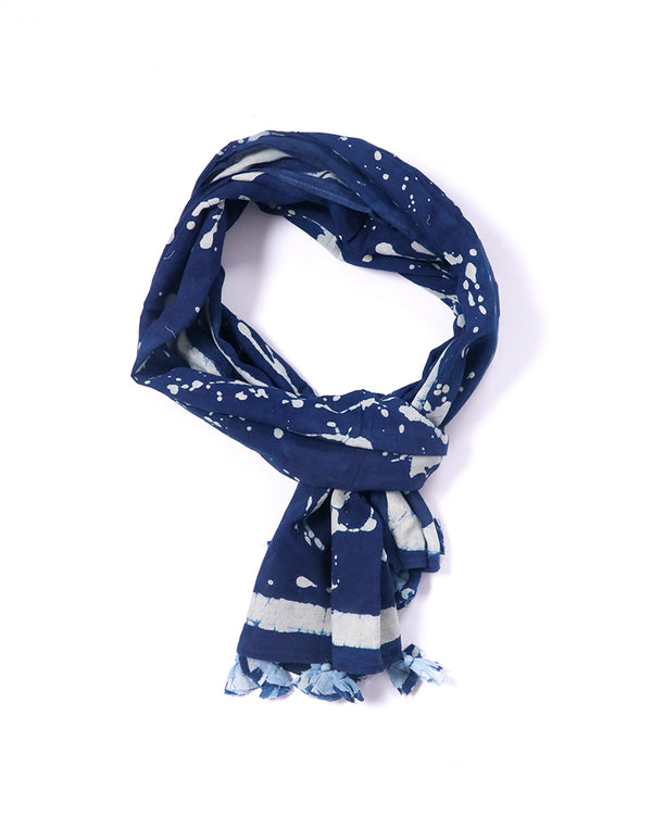Abstract Splash Indigo Cotton Voile Block Printed Stole