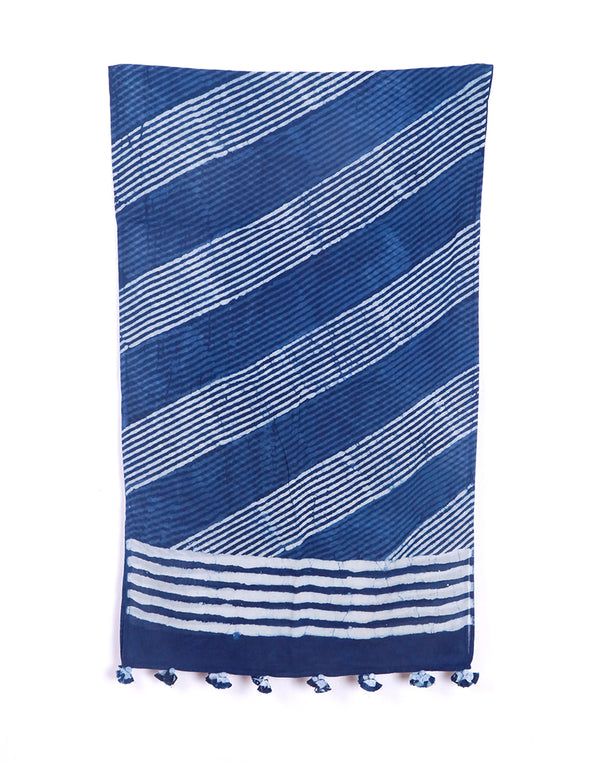 Indigo Diagonal Stripes Cotton Voile Block Printed Stole