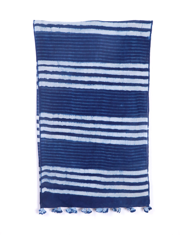 Horizontal Stripes Indigo Cotton Voile Block Printed Stole