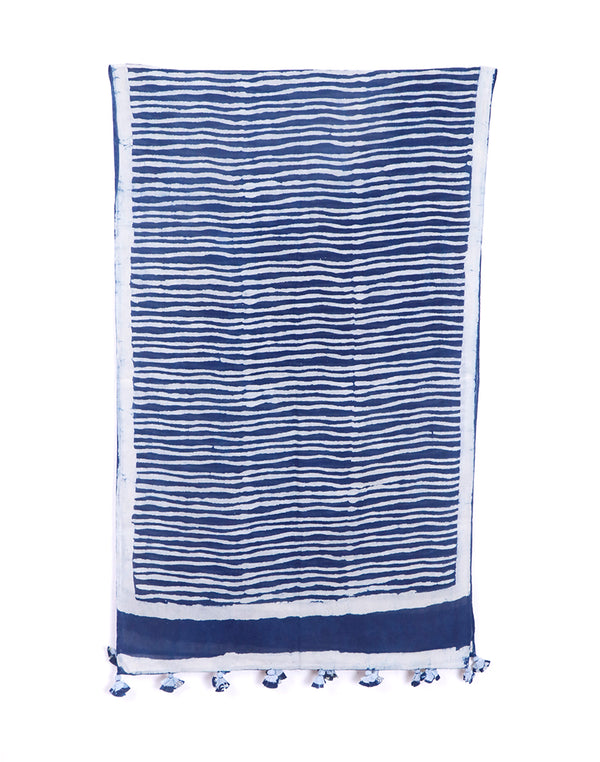Zebra Stripes Indigo Cotton Voile Block Printed Stole