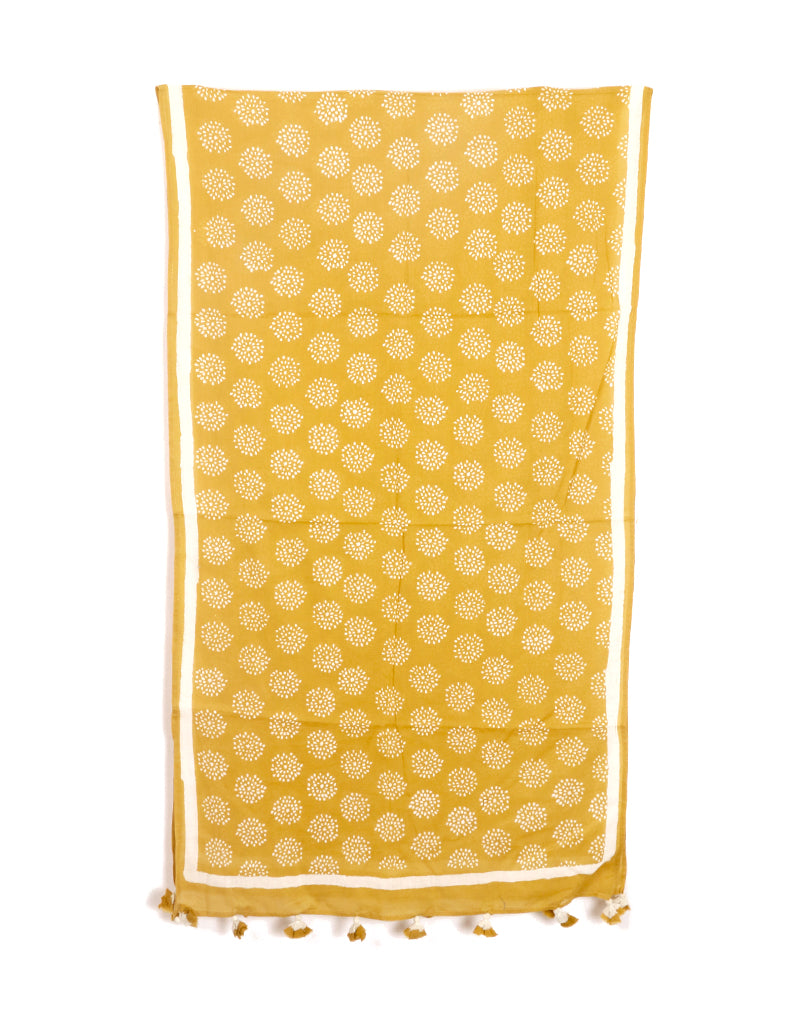 Yellow Crackle Cotton Voile Block Printed Stole