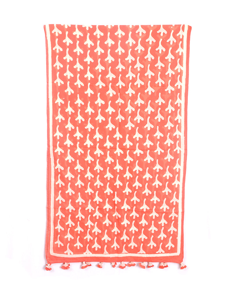 Pink Bird Feet Cotton Voile Block Printed Stole