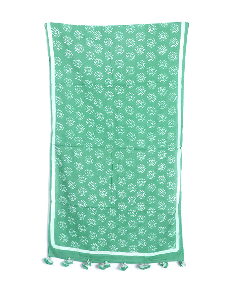 Sea Green Crackle Cotton Voile Block Printed Stole