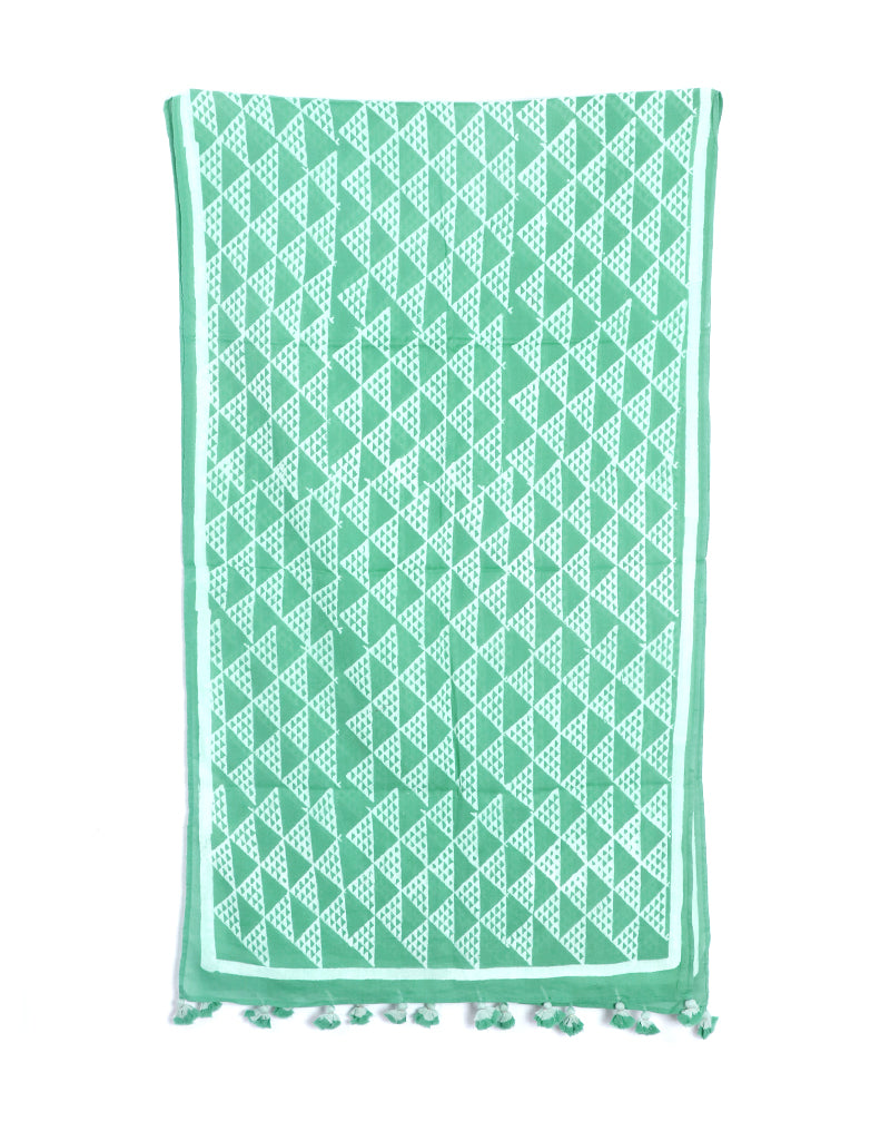 Sea Green Aztec Cotton Voile Block Printed Stole