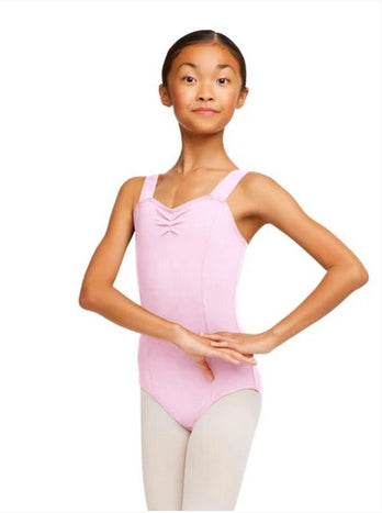 Dance Play Children's Pinched Sweetheart Wide Strap Leotard- Pink