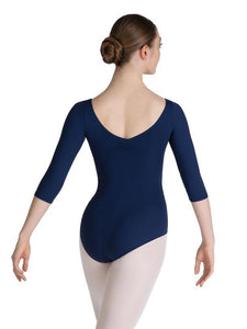 Senior Character and Contemporary, Pinch Front 3/4 Sleeve Leotard - BLACK