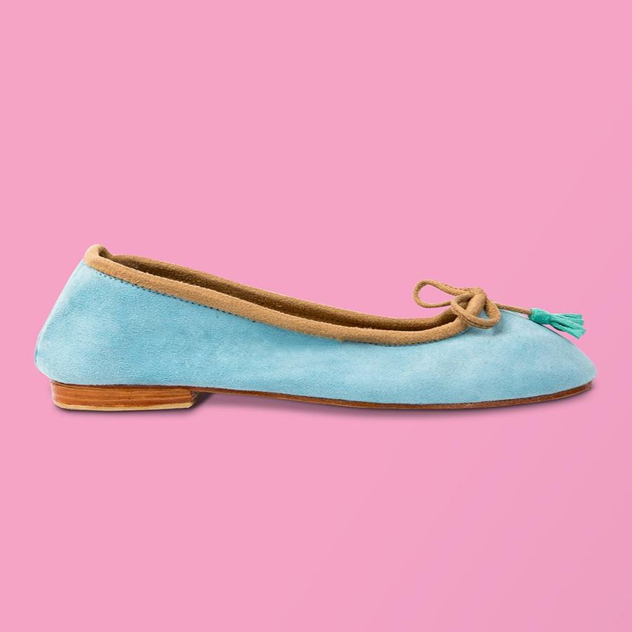 Pale Blue Suede Ballet Flat - Creative Finds