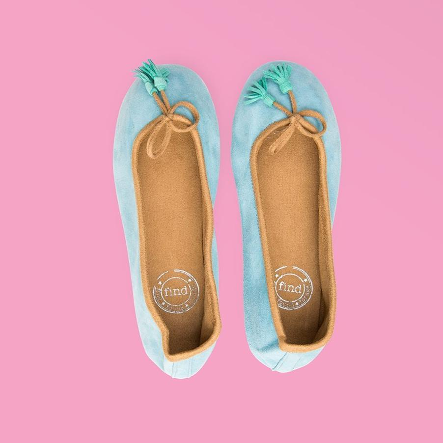 Pale Blue Suede Ballet Flats - Creative Finds