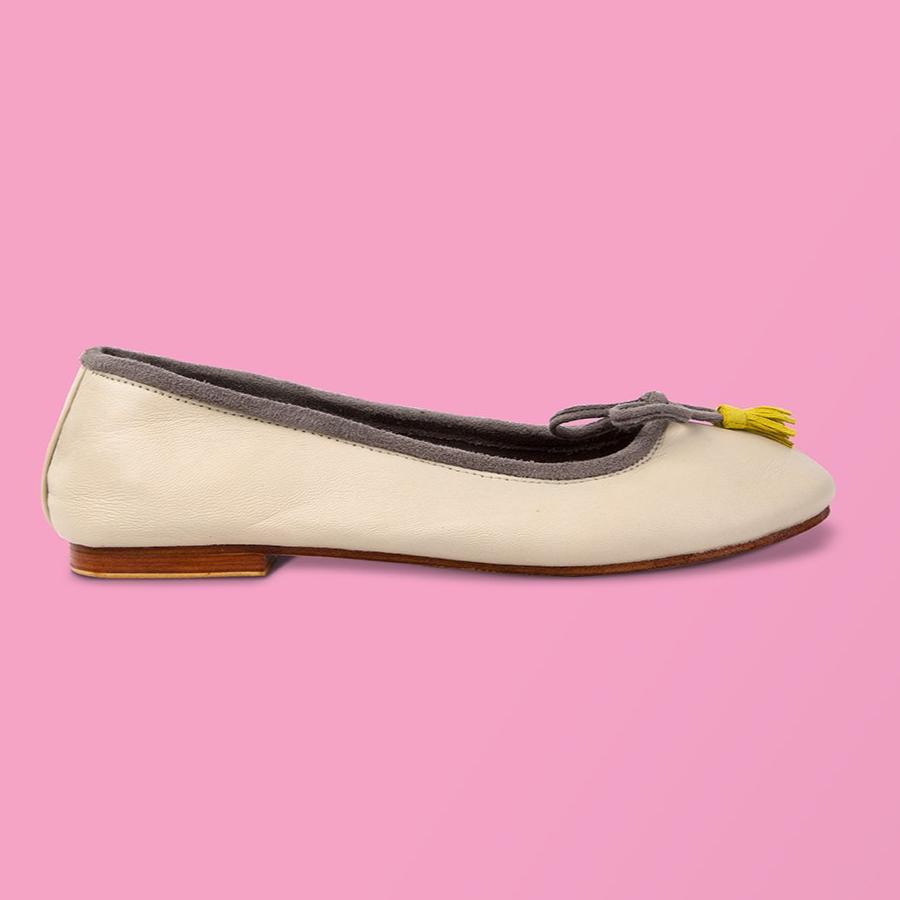 Beige Leather w Grey Side Ballet Flat - Creative Finds