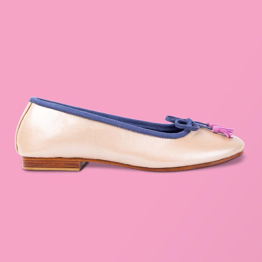 Beige Pearl Leather w Blue Ballet Flats - Creative Finds