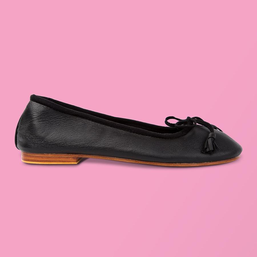 Black Leather Ballet Flat - Creative Finds