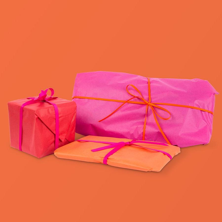 Gifts wrapped on orange