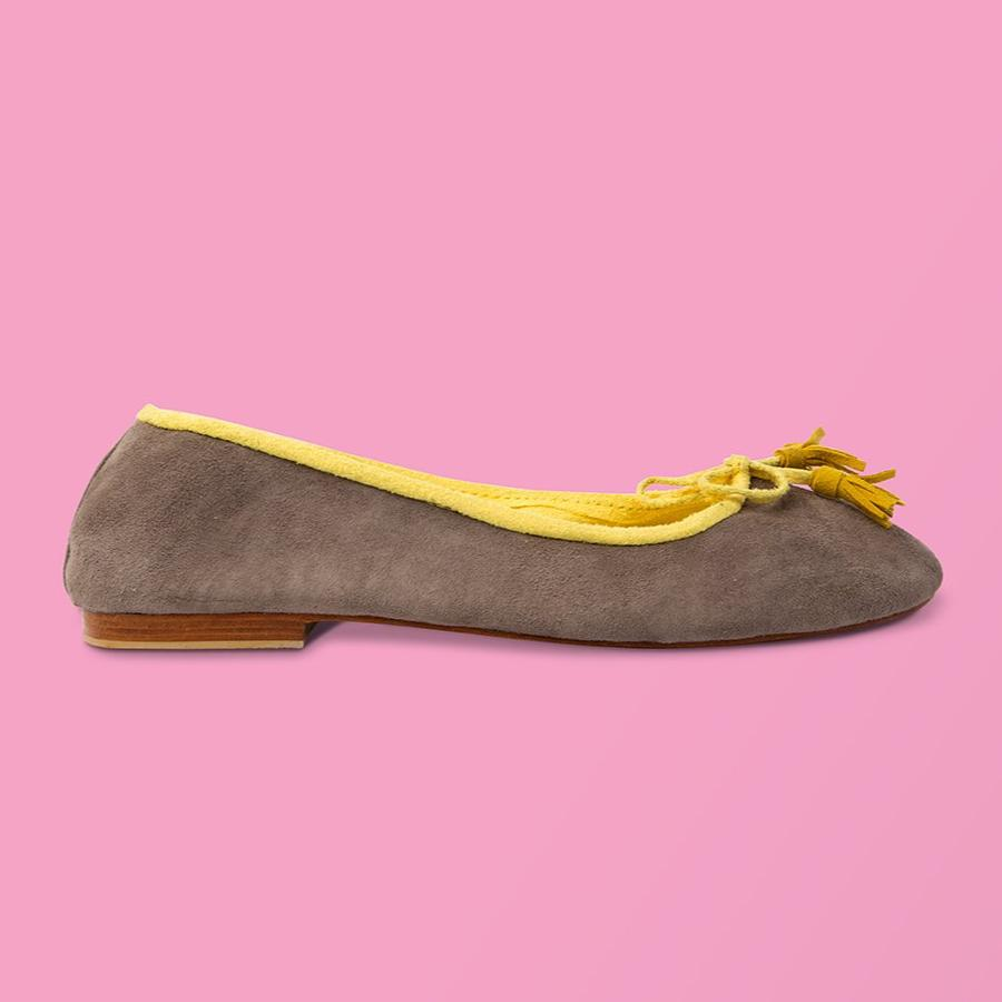 Grey Suede w Yellow Trim Ballet Flats - Creative Finds