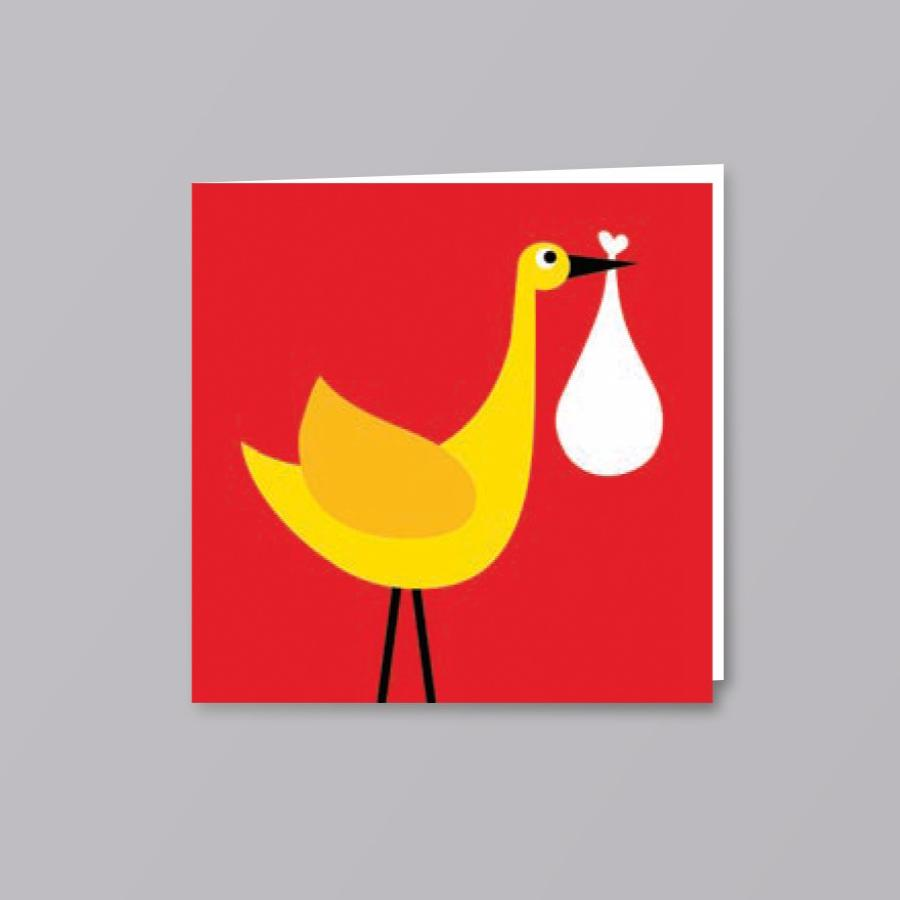 Stork New Baby Card Red - Creative Finds