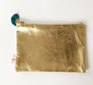 Leather gold purse teal
