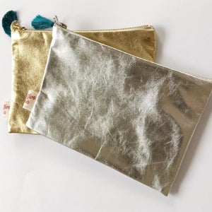 Leather silver and gold purse