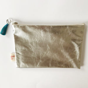 Leather silver teal purse
