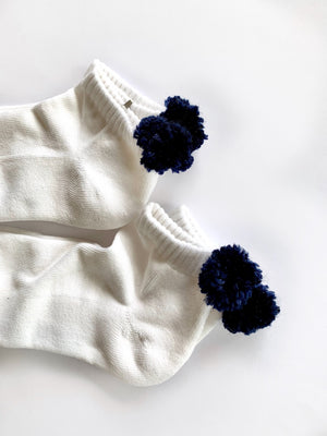 Navy PomPom socks