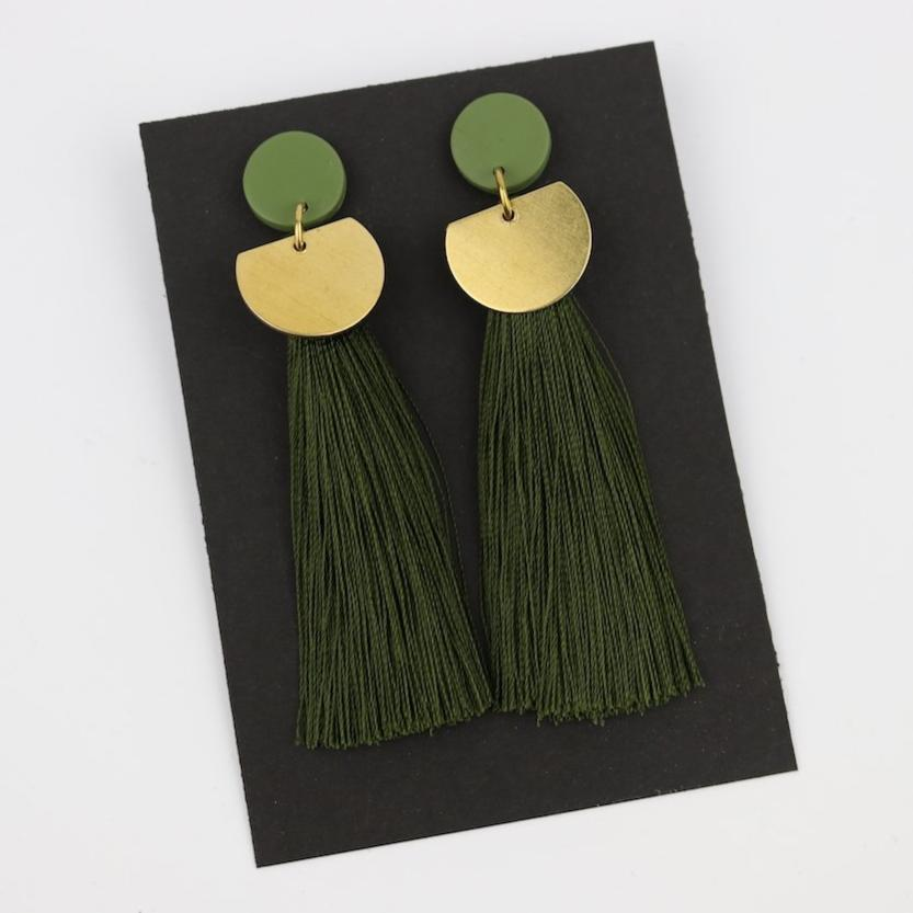 Olive Tassel & Raw Brass Earrings