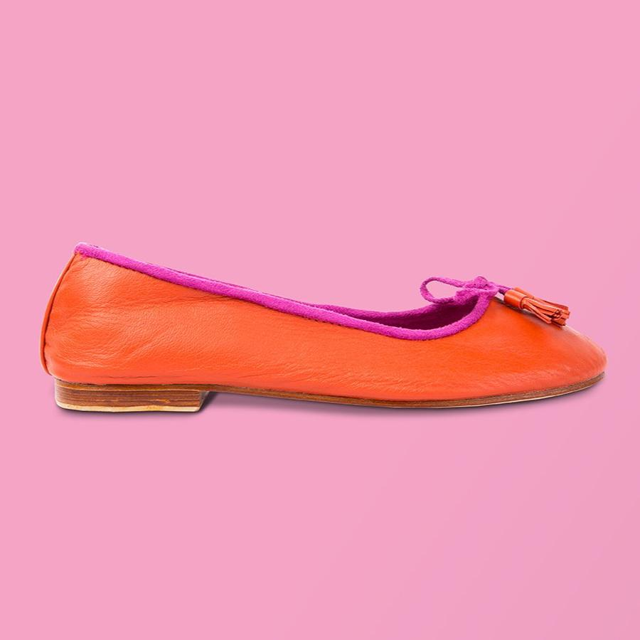 Orange Leather Ballet Flat - Creative Finds