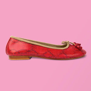 Red Snake Ballet Flat - Creative Finds