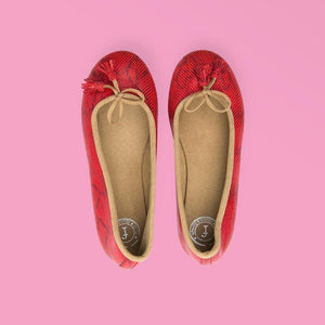 Red Snake Ballet Flats - Creative Finds