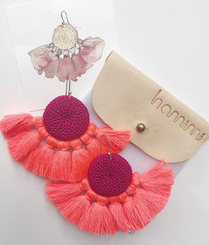 fuschia & coral tassel earring - Creative Finds