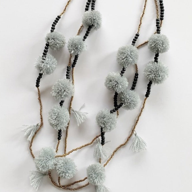 pom pom necklace - grey