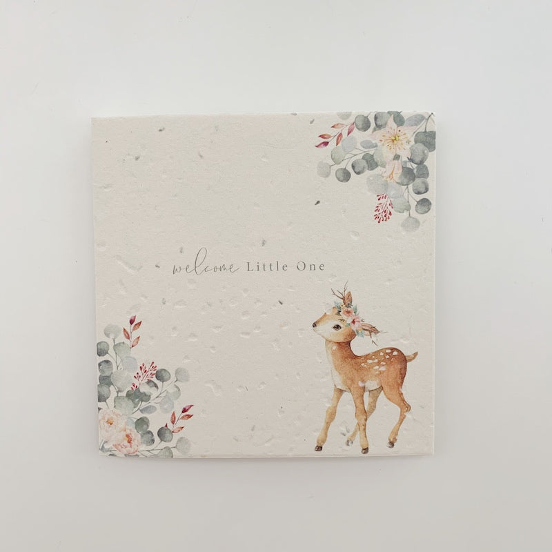 welcome little one card - deer