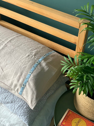 natural linen pillowcase with vintage liberty trim