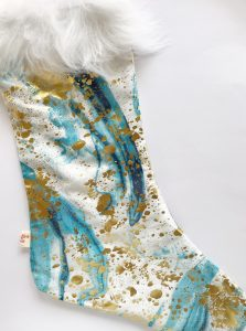 Christmas Stocking - Blue & Gold - Creative Finds