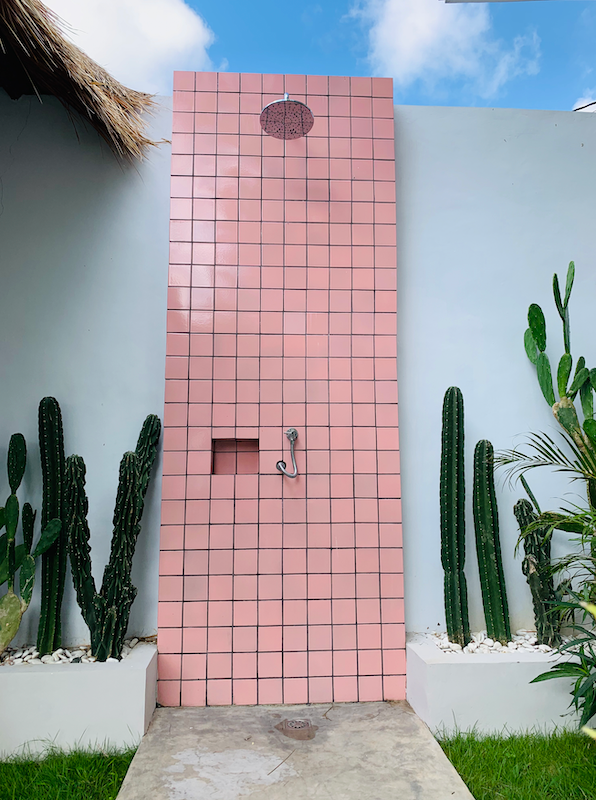 Pink Outdoor Shower - Creative Finds on Tour