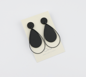 Raindrop Black Polymer Earrings - Creative Finds