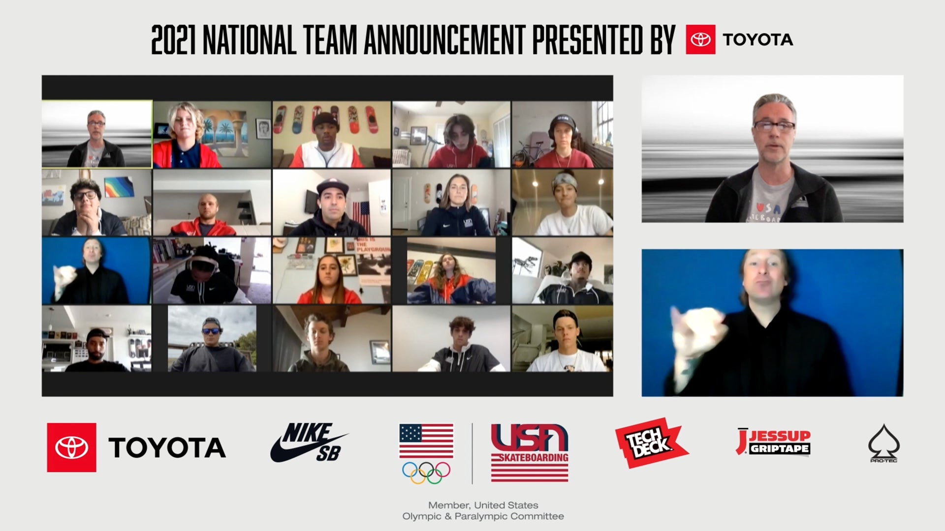 Toyota USA Skateboarding Virtual Event Announces 2021 National Team