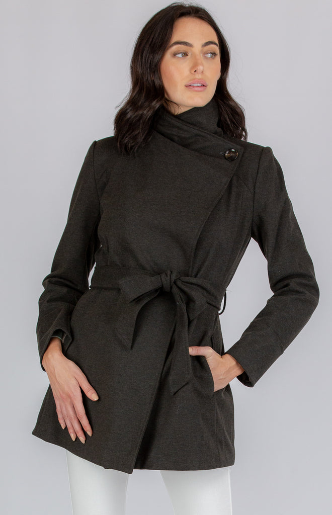 SOGNA COL WRAP COAT WITH HIGH COLLAR