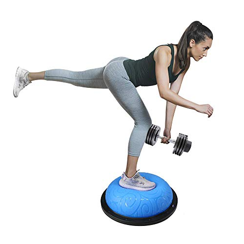 ATIVAFIT Half Ball Balance Trainer with Straps Yoga Balance Ball Anti Slip for Core Training Home Fitness Strength Exercise Workout Gym (Blue)