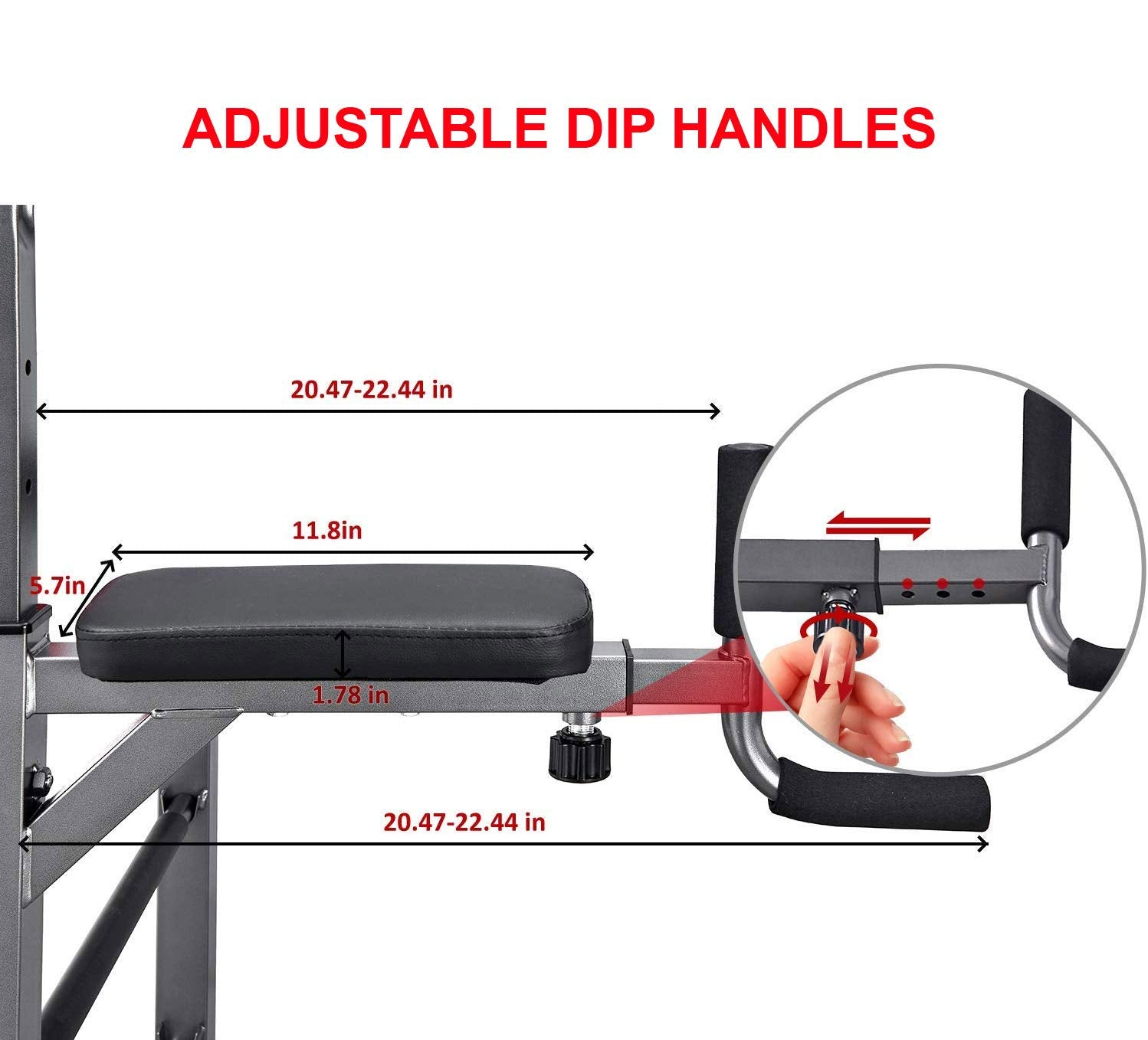 AbleFitness Dip Station Chin Up Bar Power Tower Pull Push Home Gym Fitness Core (Deluxe Version: with Adjustable Dip Handles)