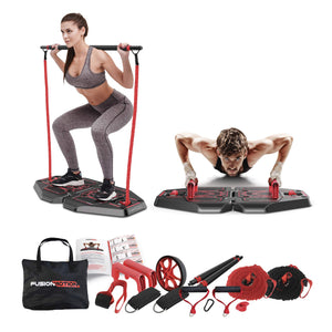 Fusion Motion Portable Gym with 8 Accessories Including Heavy Resistance Bands, Tricep Bar, Ab Roller Wheel, Pulleys and More - Full Body Workout Home Exercise Equipment to Build Muscle and Burn Fat