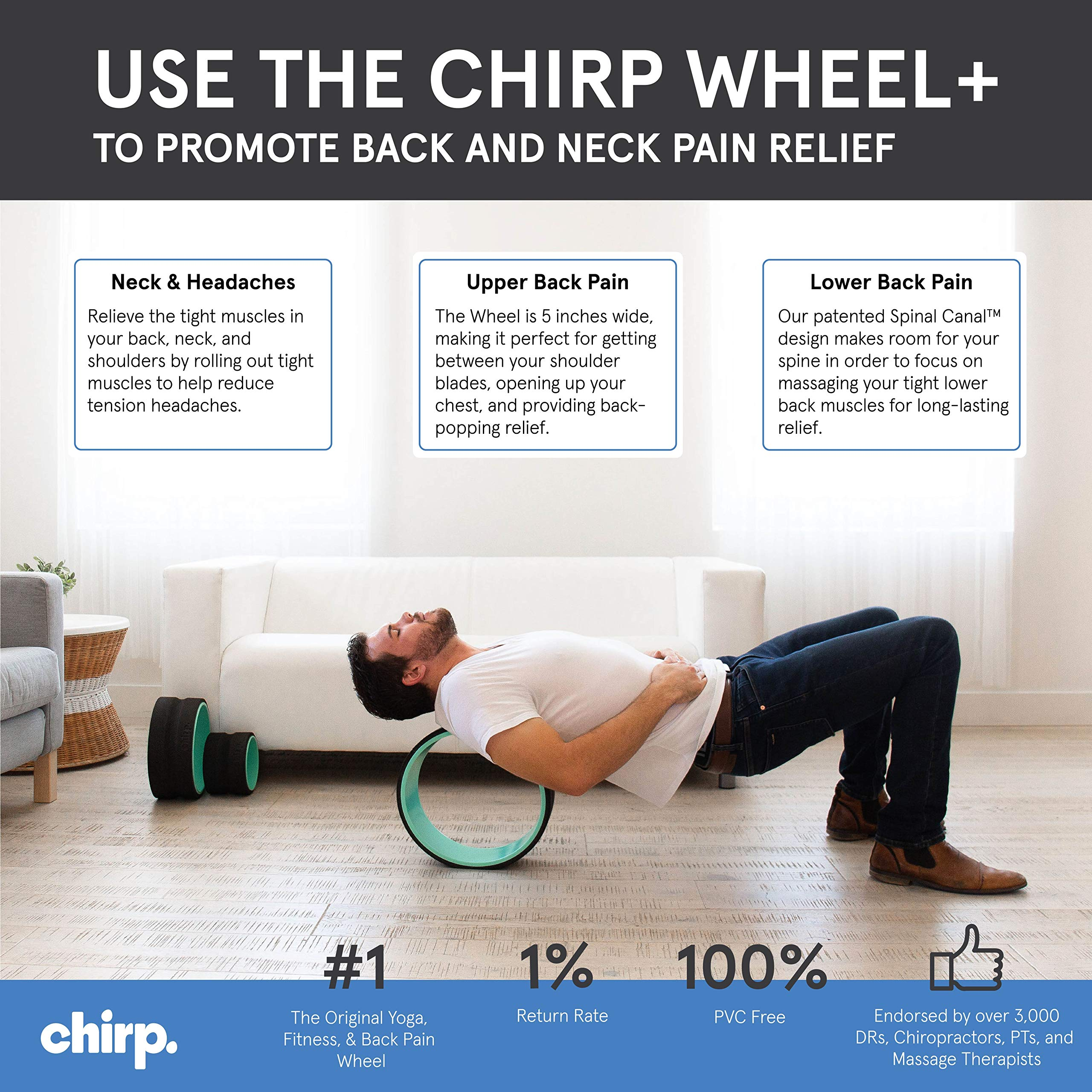 "Plexus Chirp 10"" Deep Tissue Wheel+ for Back Pain, Stretches and Strengthens Core Muscles, Relieves Strain to Muscles and Ligaments, helps Prevent Herniated/Bulging Discs, and Arthritis (10"" - Medium)"