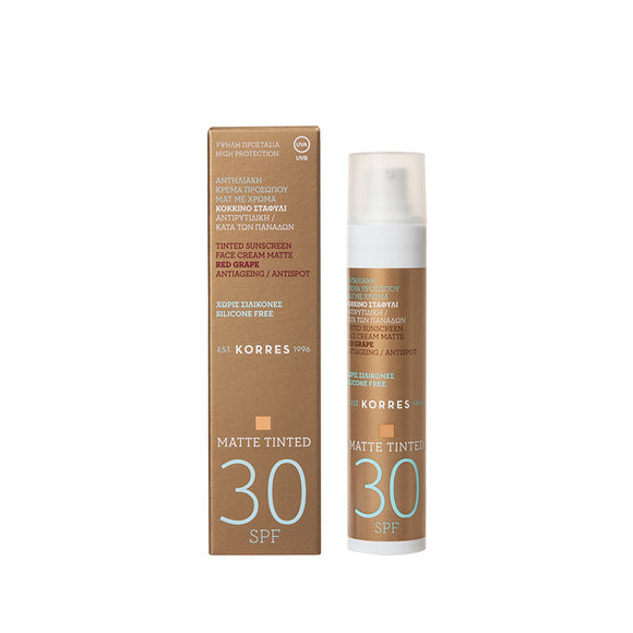 Korres Tinted Sunscreen Face Cream Matte, Antiageing & Antispot SPF 30, 50ml
