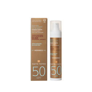 Korres Tinted Sunscreen Face Cream Matte, Antiageing & Antispot SPF 50, 50ml