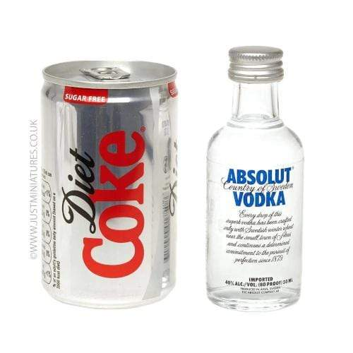 Absolut Blue Vodka & Diet Coke (Miniature & Mini Can Set)