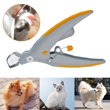 Professional Pet Dog Cutter Cat and Dog Nail Clipper Beauty Scissors Pet LED Light Nail Trimmer
